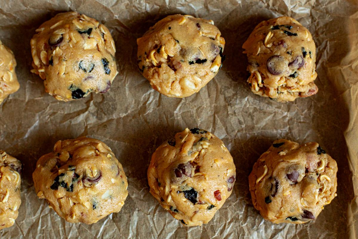 Asian cookie dough balls on partchment