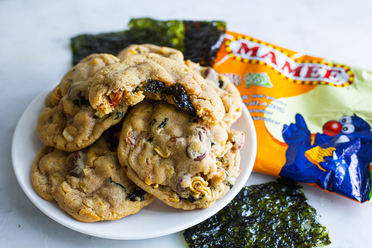 soft and fluffy cookies with nuts, instant noodles, seaweed, and pretzels.