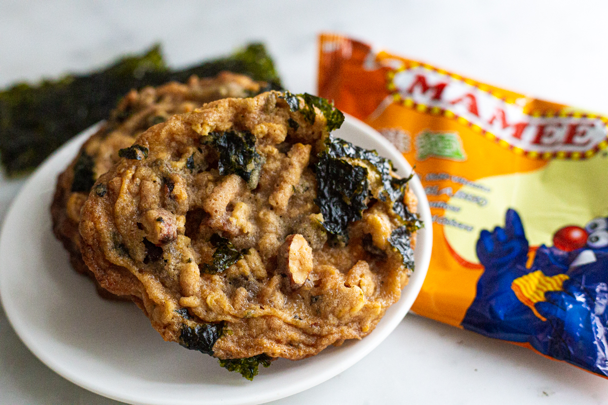 Chewy cookies with nuts, instant noodles, seaweed, and pretzels.