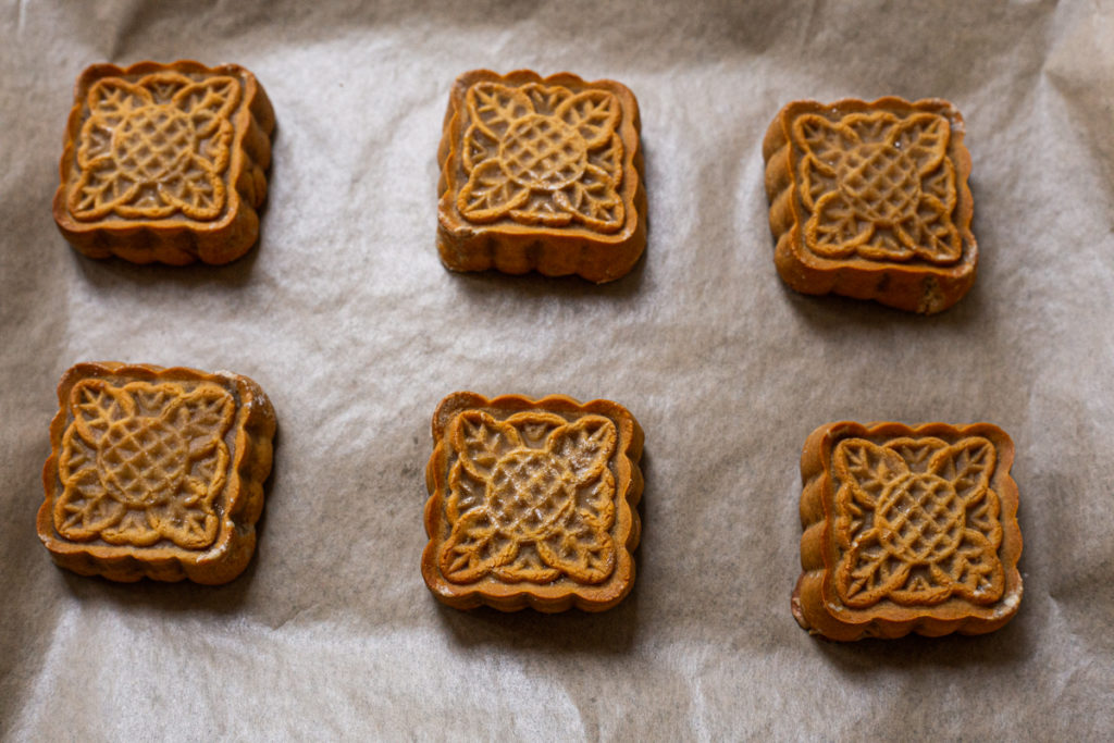 square Maple Nut Mooncake after baking