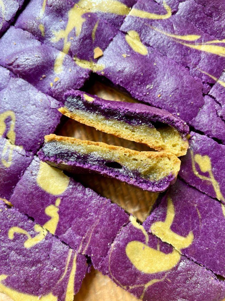 matcha ube swirl mochi bars cut and shown on the side